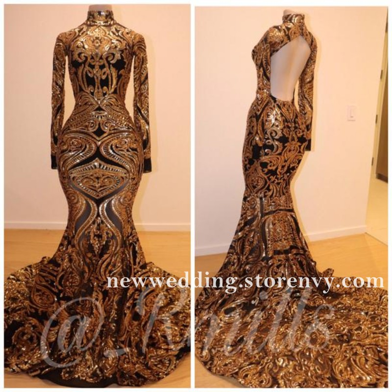 b6ac526bba Sparkly Sequined Mermaid Backless Gold Prom Dresses African 2019 Sexy High  Neck Keyhole Court Train Black Girls Graduation Dress on Storenvy