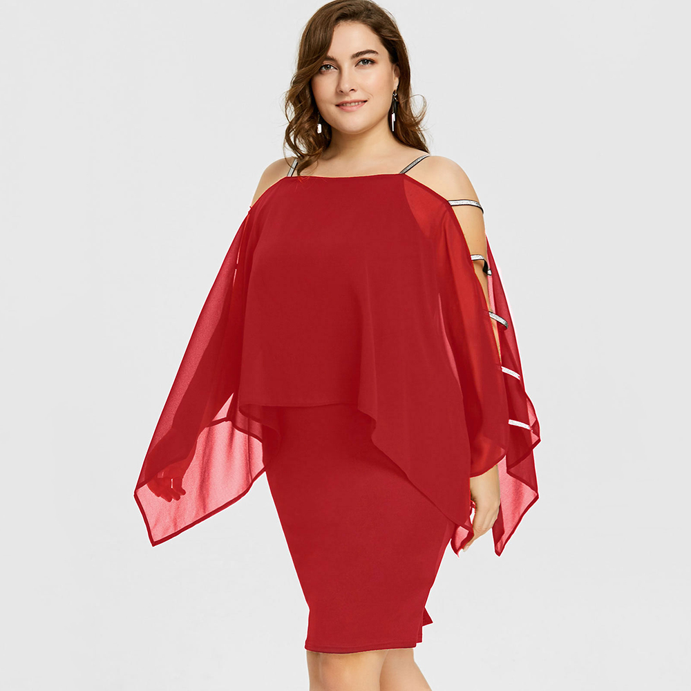 Women Plus Size Dress Ladder Cut sleeve RED Sheer Sheath Pencil Dresses  sold by JAEfashions