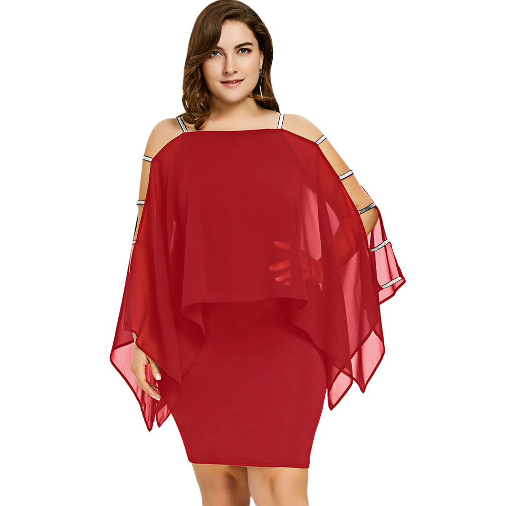 Women Plus Size Dress Ladder Cut sleeve RED Sheer Sheath Pencil Dresses