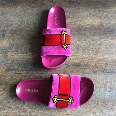 a73acdc0b747 Prada  Velvet Buckle Slides (Limited Edition) · Stush Fashionista ...