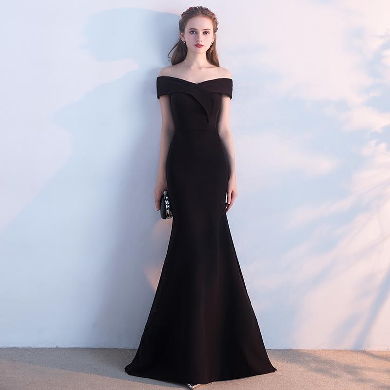 161375c73bb Simple black off shoulder long prom dress