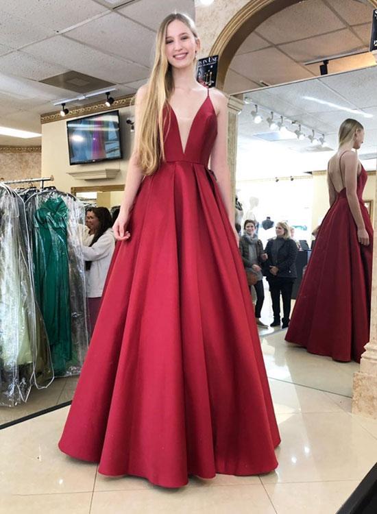 6e2c255a581 Simple A Line Deep V Neck Red Long Prom Dresses Evening Dresses - Thumbnail  1 ...