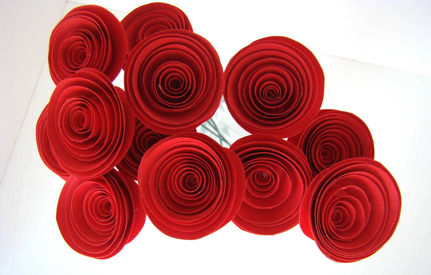 Large Red Roses One Dozen Spiral Paper Roses With Stems Origami