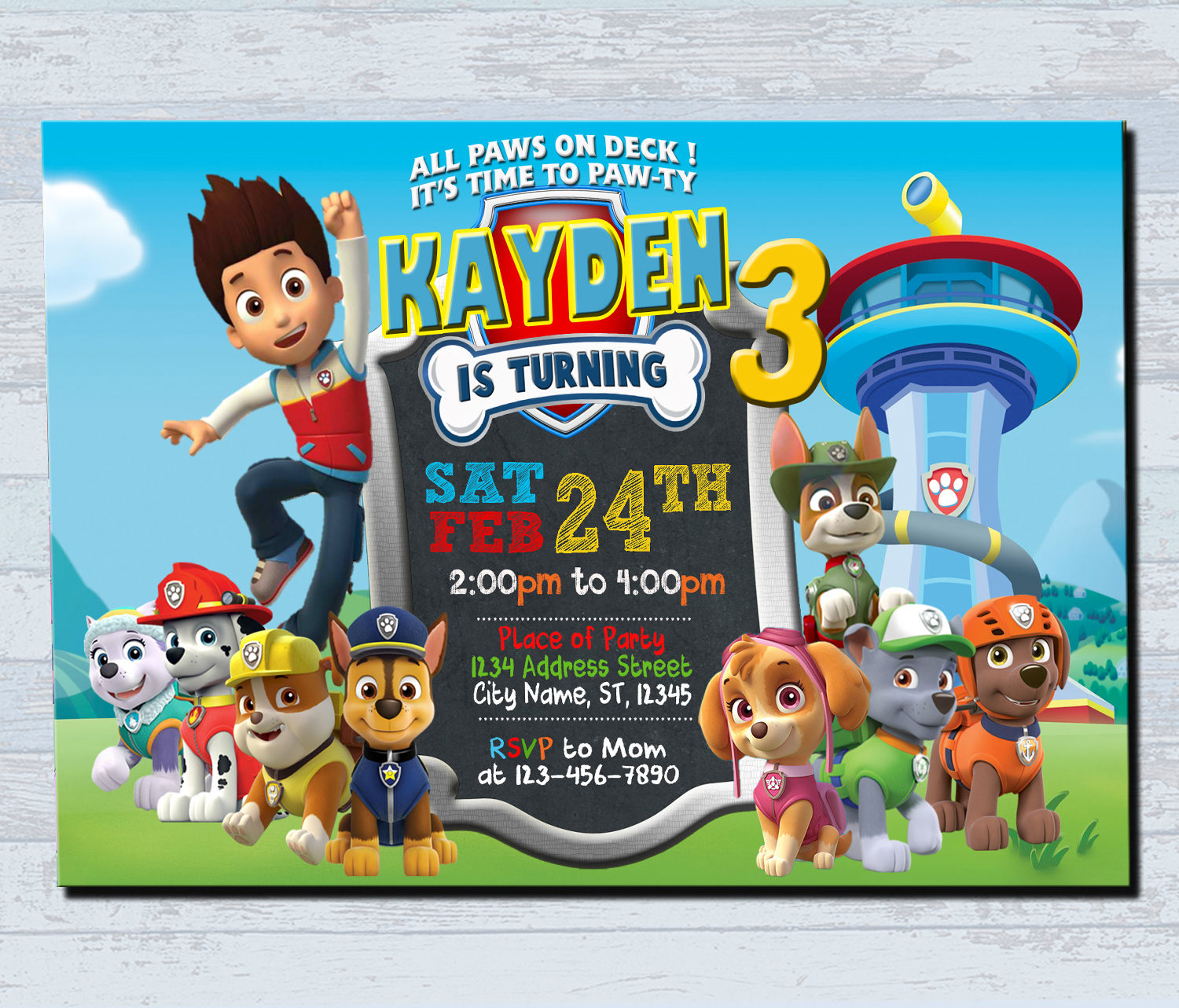 Birthday Invitations Personalized Invitation Paw Patrol