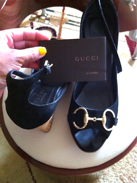 b87f2b8d7bc6 Gucci   black suede ankle strap horsebit wicker wedge sandals heels shoes~6