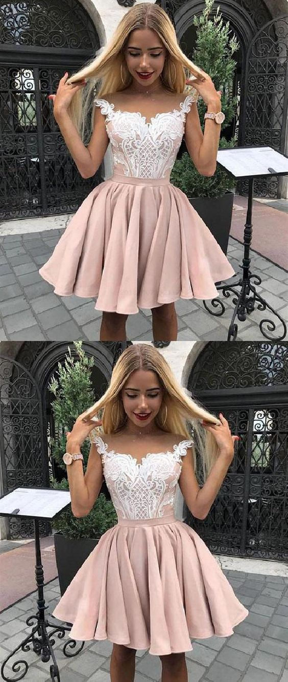 6c1a463a06ddc Outlet Feminine Short Prom Dress, Homecoming Dress Lace, Pink Prom Dress, Cute  Prom