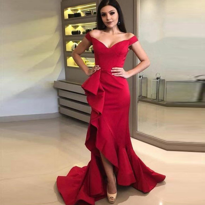 b0ff7043380886 Off the shoulder red prom dress mermaid slit formal evening gown with  flouncing skirt