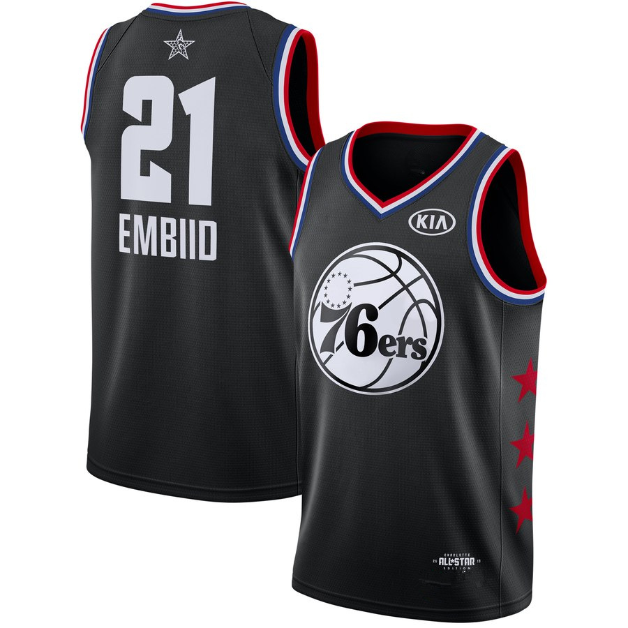 Men s Philadelphia 76ers Joel Embiid Black 2019 All-Star Game Finished  Swingman Jersey 586996607