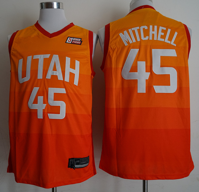 47caabea5 Men s Utah Jazz 45 Donovan Mitchell Orange 201819 Swingman Jersey – City  Edition