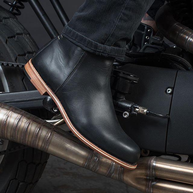 black men's boots leather