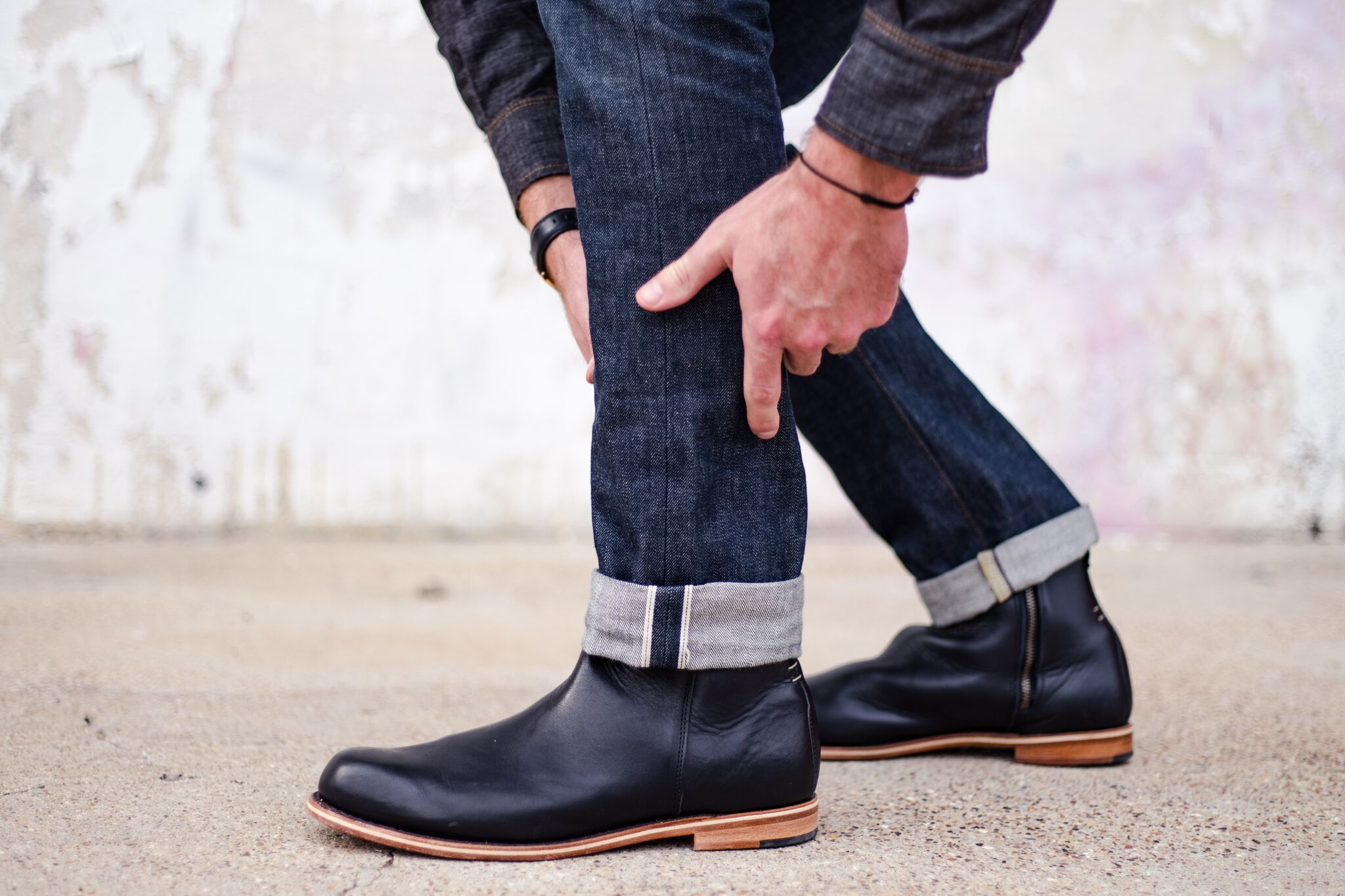 Handmade Men black Leather Ankle high