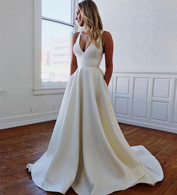 cb71667b2fc6 White v neck satin long prom dress, white evening dress · Dream Prom ...