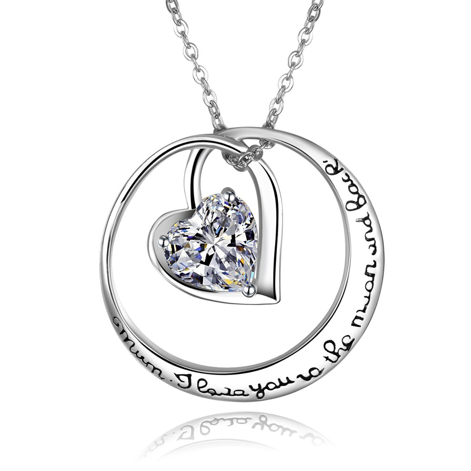 Sterling Silver I Love You To The Moon and Back Love Heart CZ Pendant Necklace