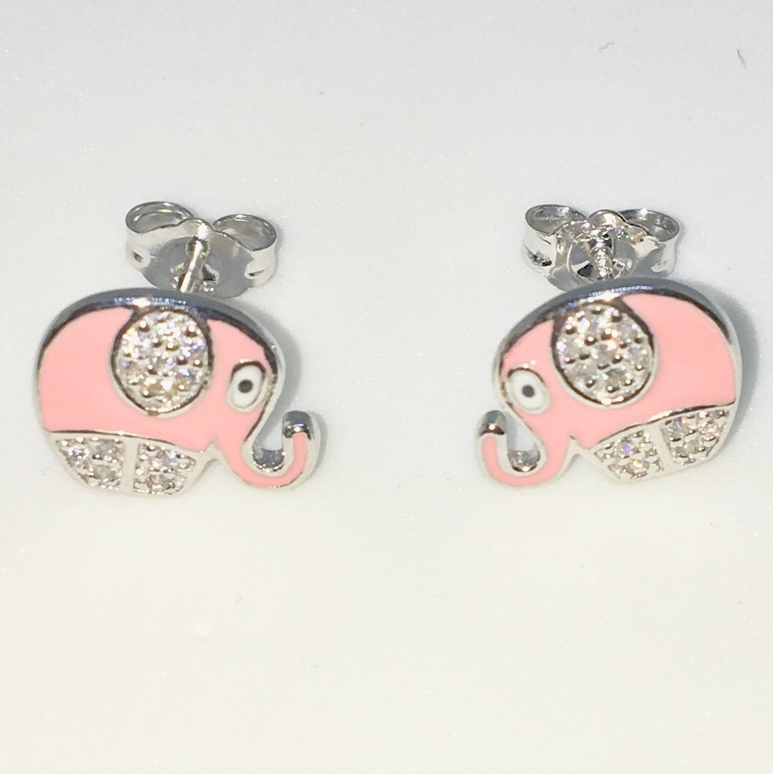 80a100f38659d New White Gold on 925 Solid Sterling Silver Elephant with tiny Round White  CZ Small Studs Earrings ( 11 . 8 mm )