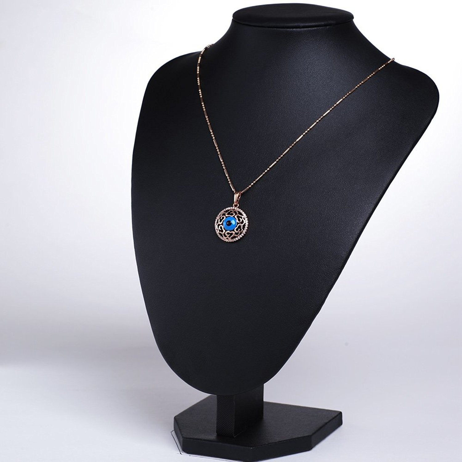 Magical Evil Eye Protection Amulet Medallion Gold-Tone Heart Accents  Sparkling Crystals 18 Inch Necklace from Hughdeal4less