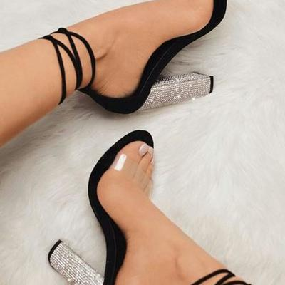 c73c5aaa7a1 Black round toe chunky rhinestone fashion high-heeled sandals g9890
