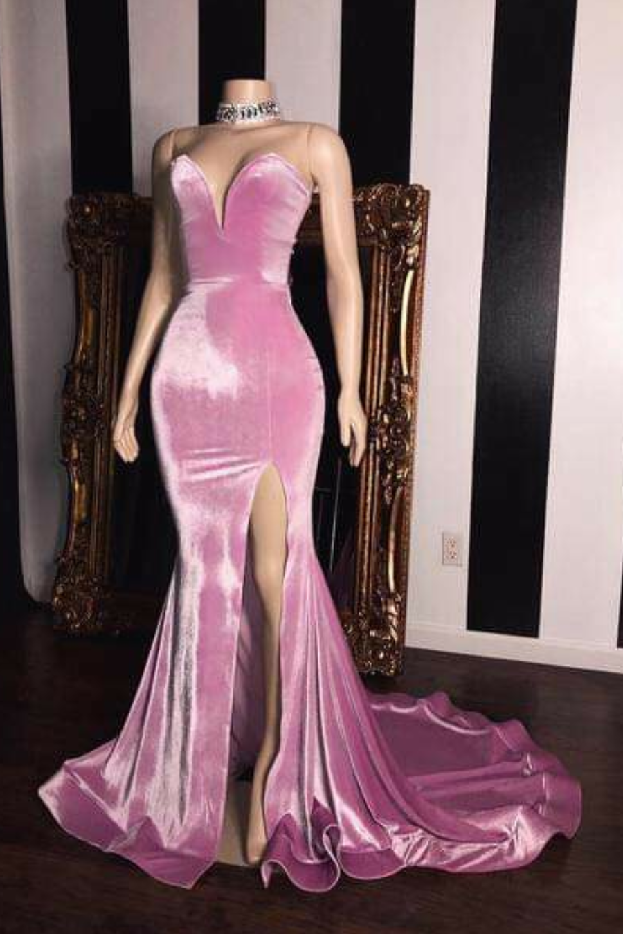e5a4065f31a Pink Velvet Prom Evening Dresses with Mermaid Skirt · NarsBridal ...