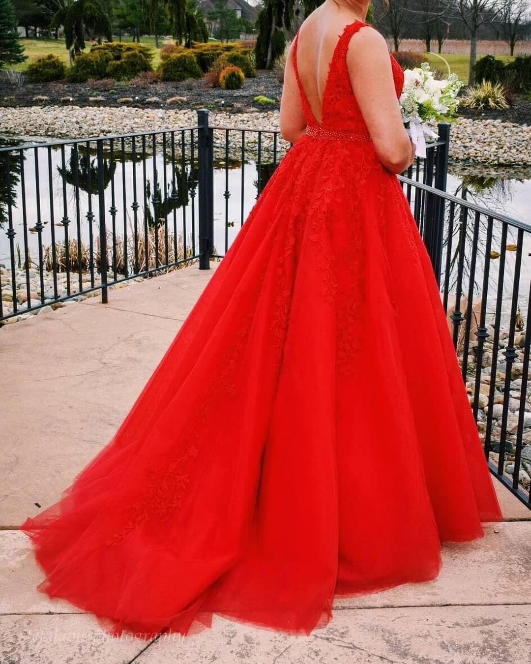 Plus Size Prom Dress,Ball Gown Red Prom Dress,Lace and Tulle Pageant Dress  from Sancta Sophia