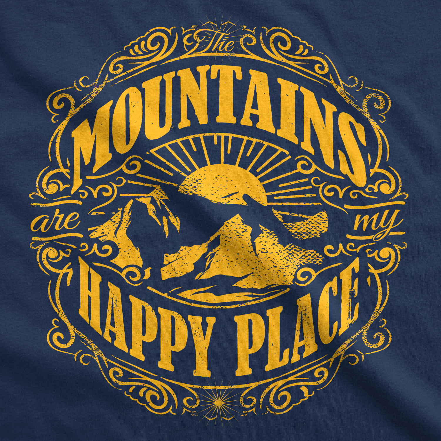 150d243492426 Womens Mountains Are My Happy Place Cool Vintage Rockies Outdoor Nature T  shirt - Thumbnail 1