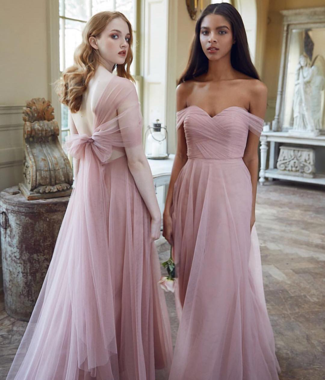 enjoy bottom price save up to 80% shopping Romantic Pink Tulle Multiway Bridesmaid Dresses from modsele
