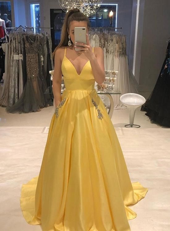 dfe4c1e72c7b Hot Sale V Neck Prom Dress Yellow A Line Formal Evening Gown For Senior Prom