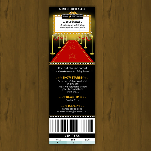 hollywood baby shower invitation ticket style a star is born on