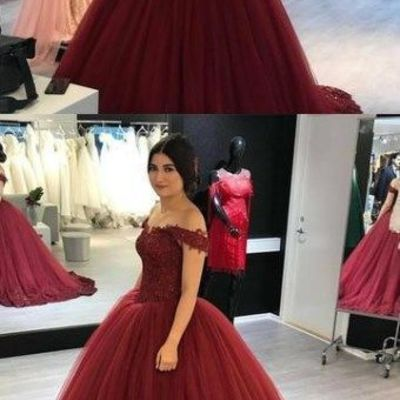 362e1f8e29b6 Lovely lace appliques prom gowns v-neck off shoulder prom dresses tulle  maroon wedding dress