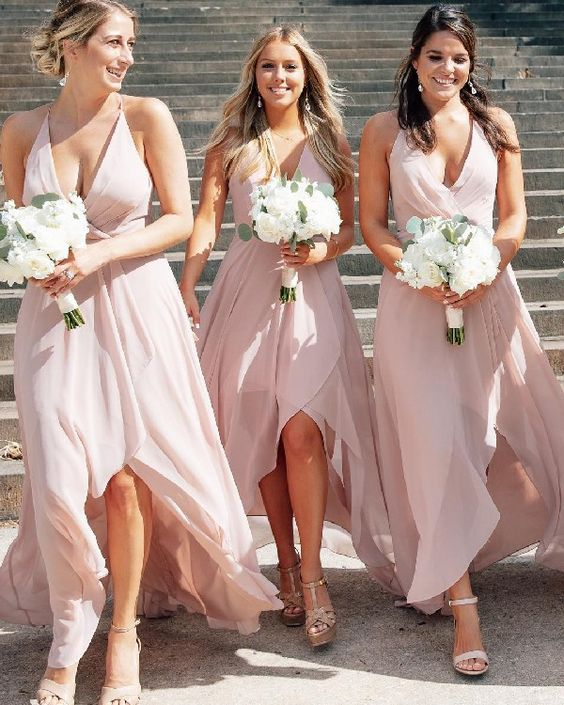 556cc852a426f Boho Deep V Neck High Low Pink Bridesmaid Dresses · modsele · Online ...
