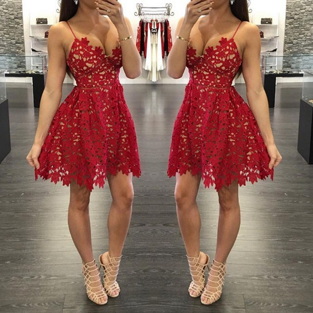 9754eac3e Sexy A-Line Red Lace Short Prom Dress Homecoming Dresses 2019 Spaghetti  Straps Party Gowns