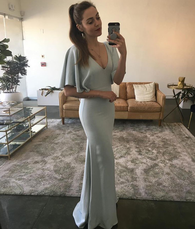 2019 V Neck Wedding Guest Dress Mermaid Formal Gown Cap Sleeves From Beloves