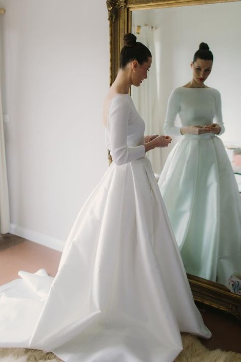becd5cded Bateau Satin Long Sleeves Wedding Dresses with Box Pleats ...