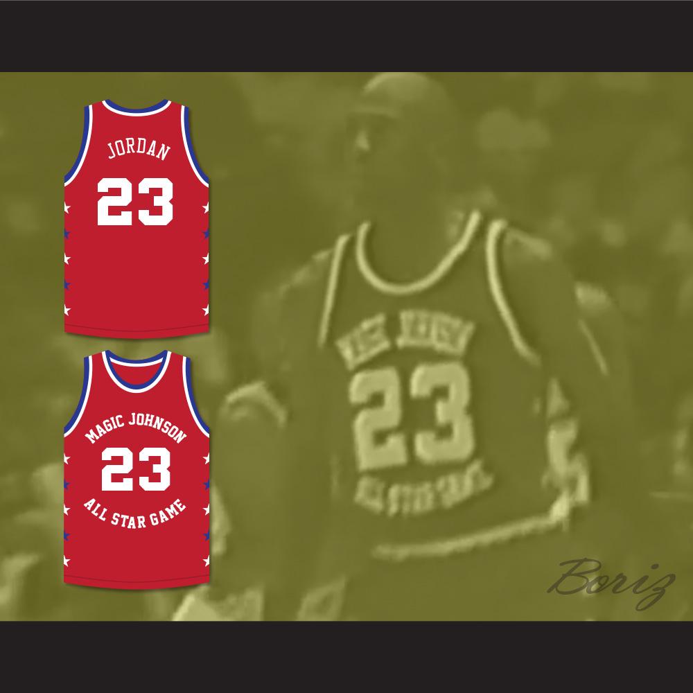 3ad4f2673b8 ... Michael Jordan 23 Magic Johnson All Star Game Red Basketball Jersey  1990 Midsummer Night's Magic Charity ...