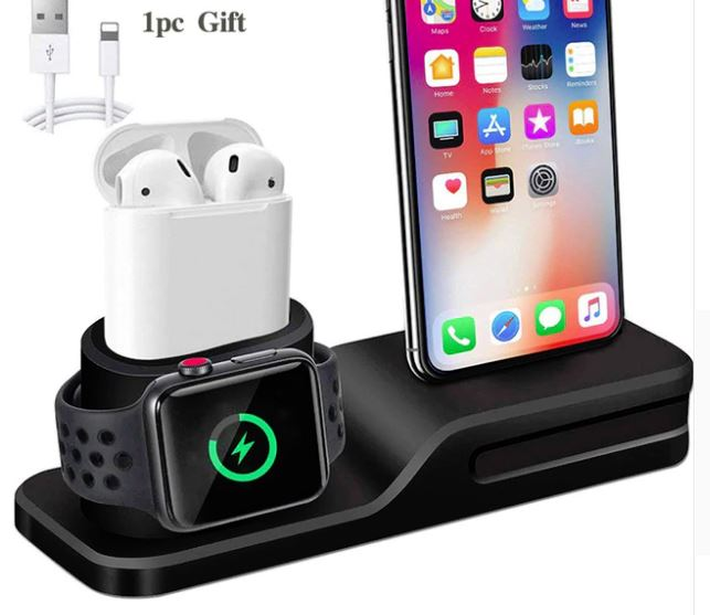 new arrival ab2d1 7ab2f 3 in 1 Charging Dock Holder For Apple Watch AirPods Phone For Iphone X  Iphone 8 Iphone 7 Iphone 6 Silicone charging stand Dock Station from  Original