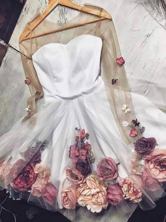 1858616373c 2019 Chic A-line V neck Hand-Made Flower Homecoming Dresses Unique Short  Prom ...