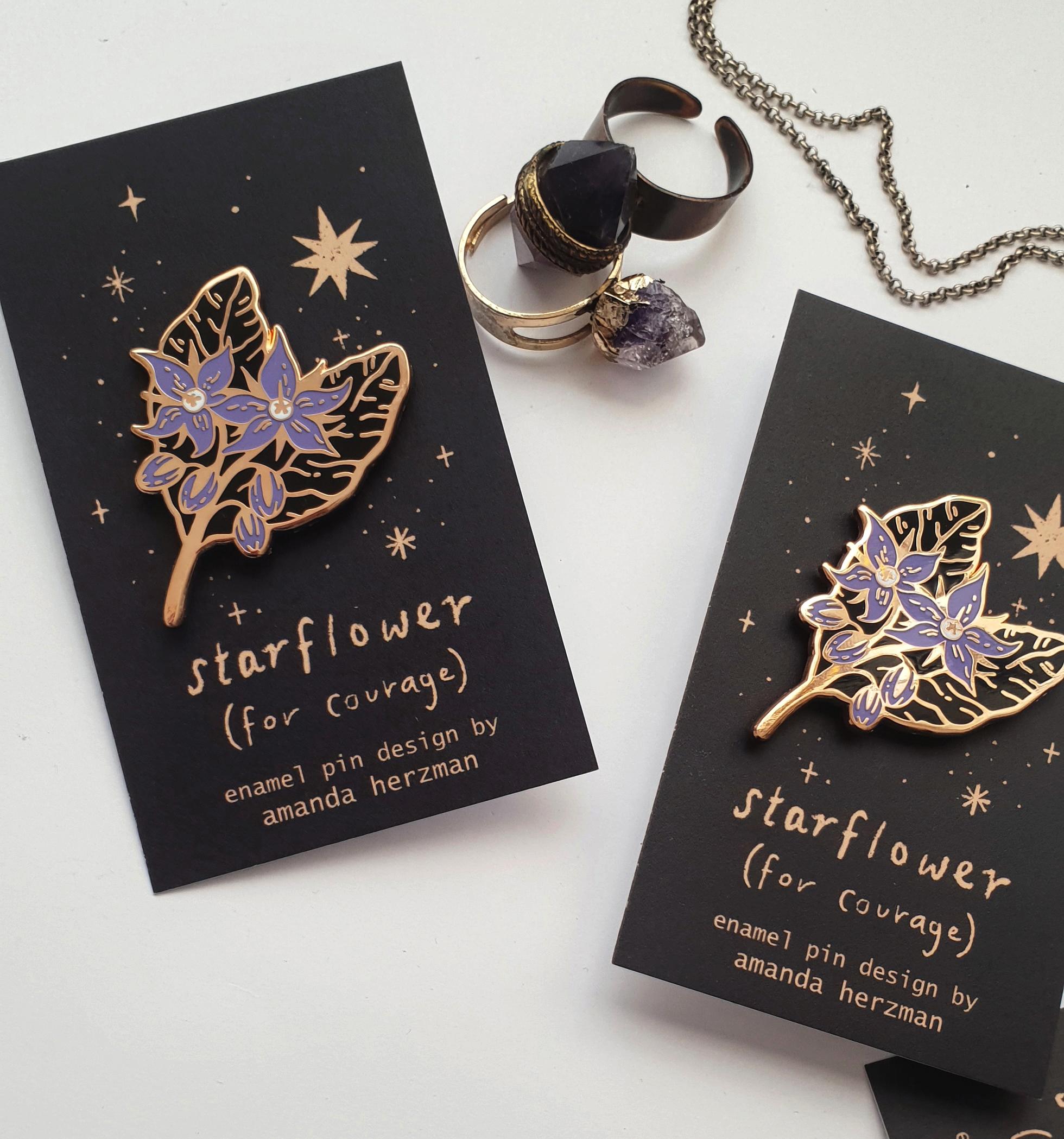 starflower enamel pin from Amanda Herzman
