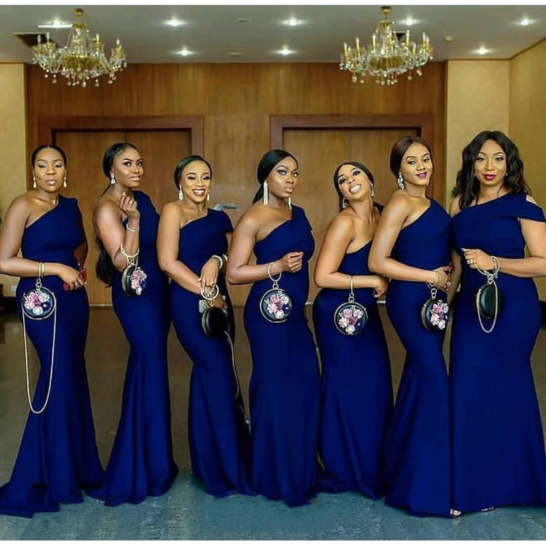 Blue Wedding Dresses 2019: Mermaid One Shoulder Bridesmaid Dresses 2019 Royal Blue