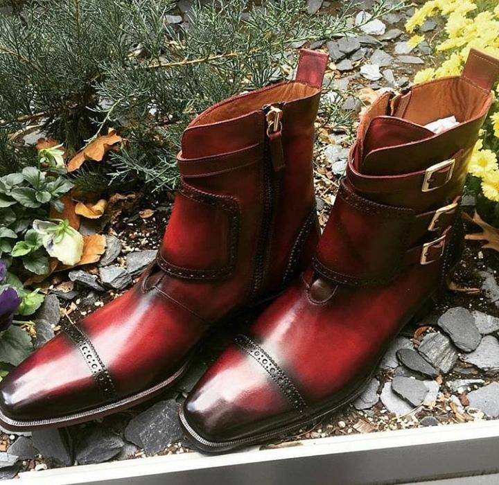 9c44220a514 Handmade Burgundy Leather Buckle Boot, Men's Triple Monk Cap Toe ...