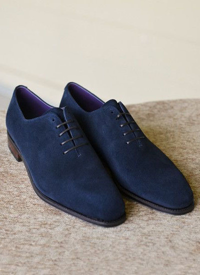 Handmade Navy Blue Suede Derby shoes