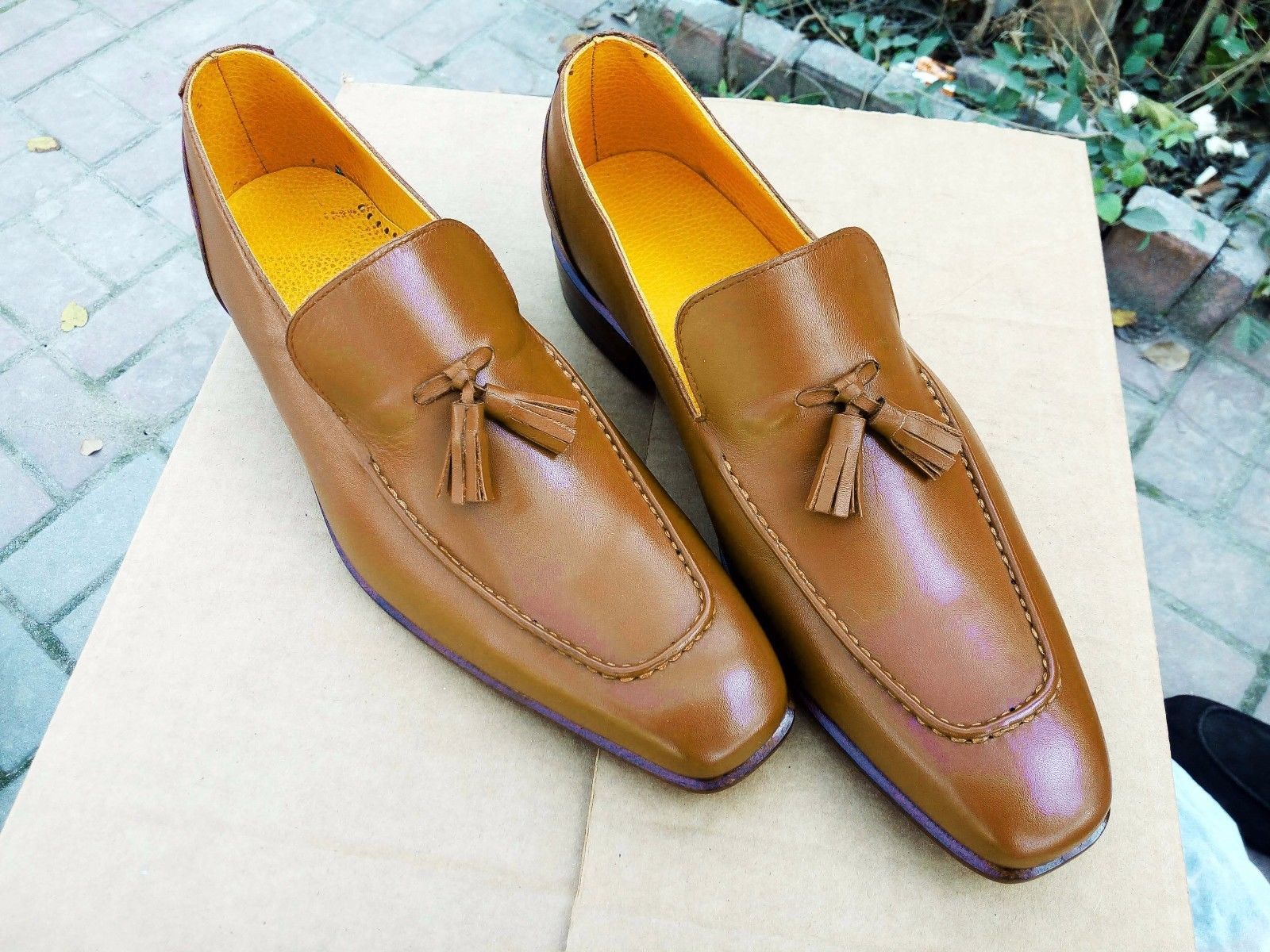 Mens Handmade Shoes Tussle Leather Wingtip Slippers Casual Dress Wedding Loafer