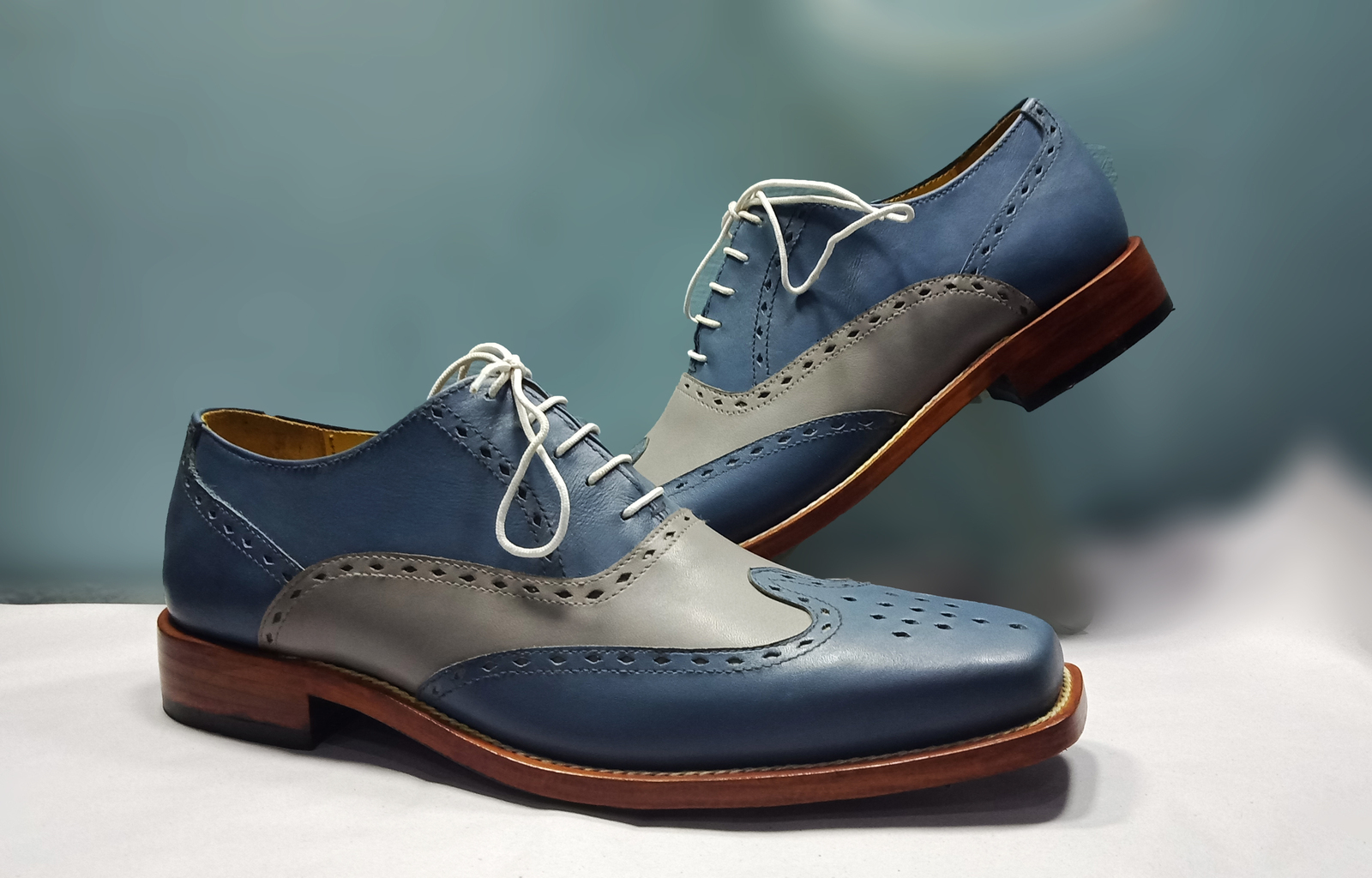 9bd4d9a1d99ca Handmade Gray Blue Wingtip Brogue Shoe, Men's Lace Up Leather Oxford Formal  Shoe from LeathersPlanet