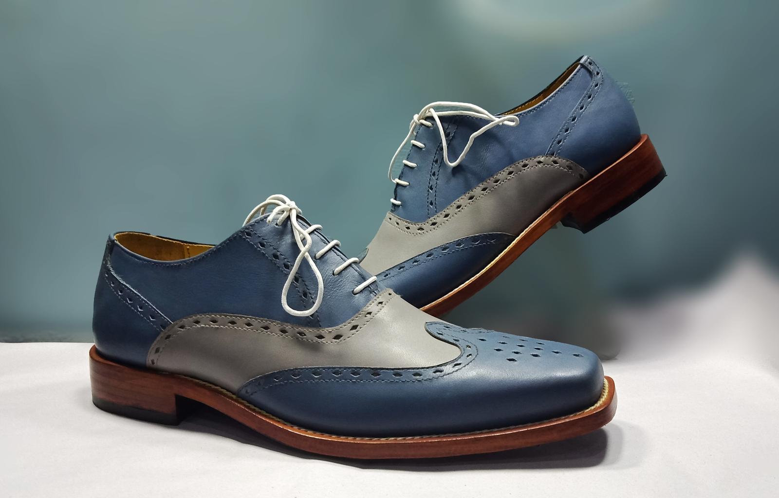 Handmade Gray Blue Wingtip Brogue Shoe