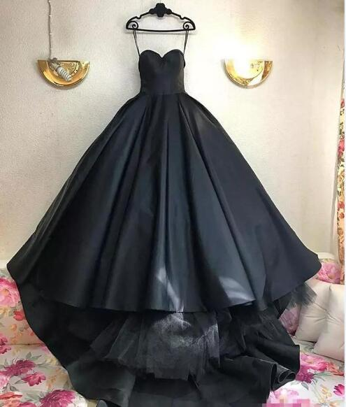 Gothic Black Ball Gown Wedding Dresses 2019,Corset Plus Size Simple Satin  Arabic African Cheap Bridal Gowns,Floor Length Bridal Gowns sold by ...
