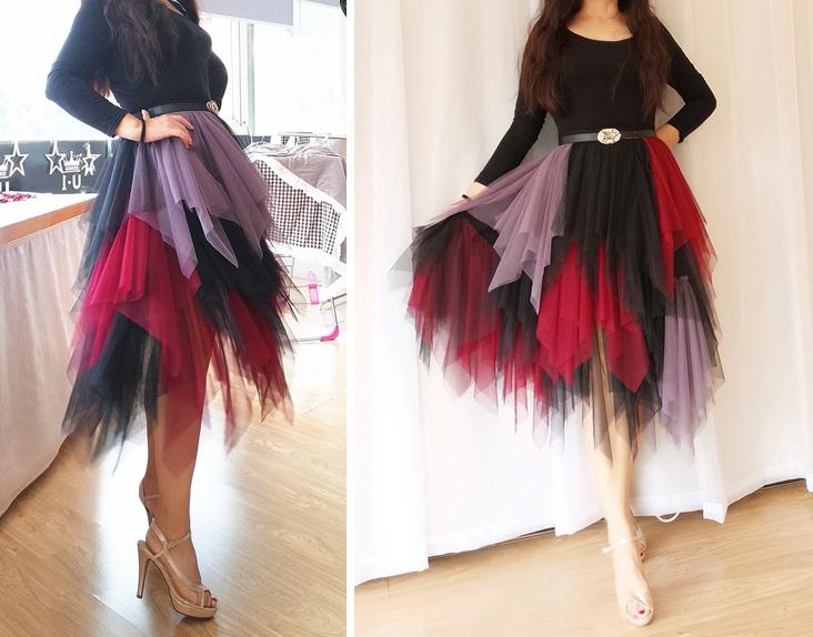 9563ae8e1f897e Tiered High Waist Midi Tulle Skirt Women's Hi-lo Layered Holiday ...