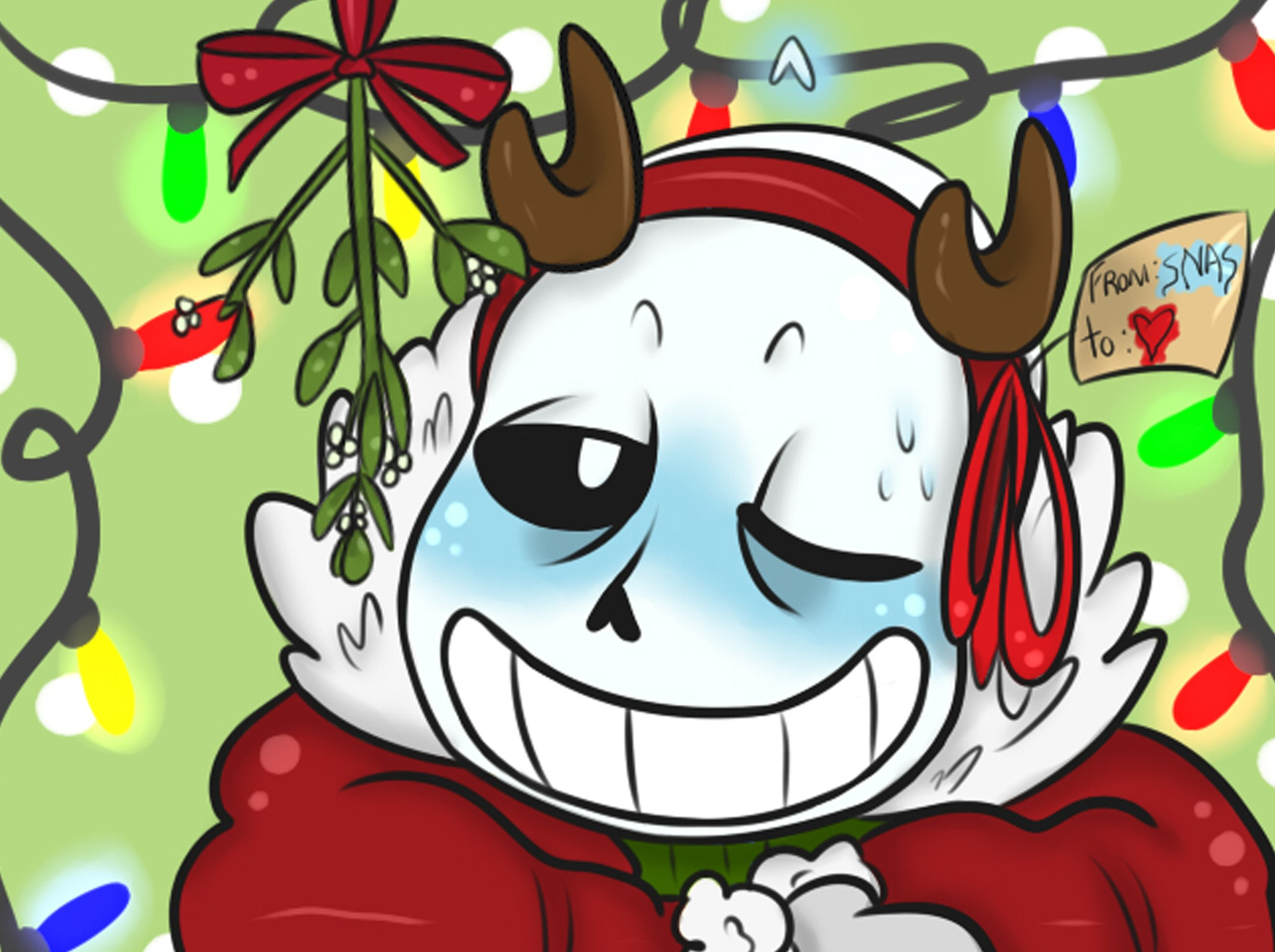 Undertale Christmas.A5 Print Sans Undertale Christmas Sold By Starryraccoon