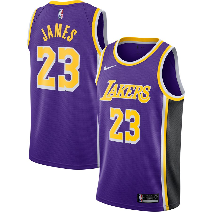 pretty nice 4a577 2b143 Men's Los Angeles Lakers 23# LeBron James Purple Basketball Jersey  Statement Edition S-2XL