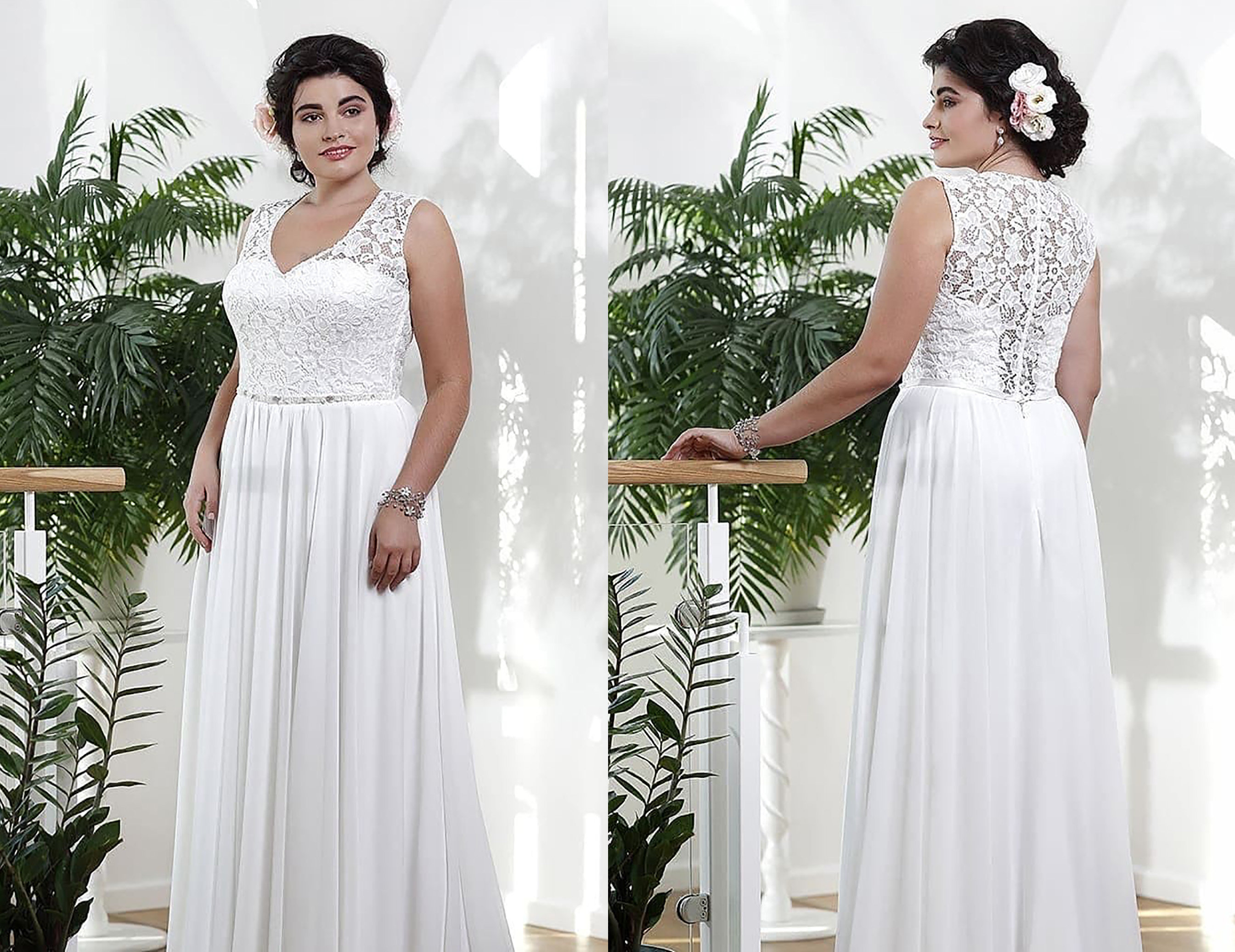 Plus Size Lace Beach Garden Wedding Dress from Curvy Brides