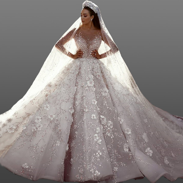 Luxury Long Sleeves Ball Gown Wedding Dresses Beaded 3d Floral Appliqued Saudi Arabia Lace Bridal Gowns 2019 Plus Size Wedding Dress 910 From