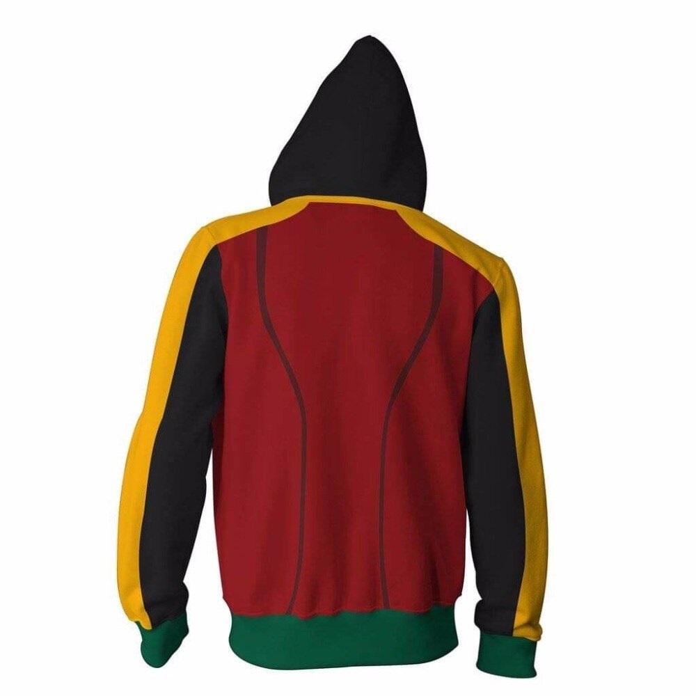 dc universe robin damian wayne superhero zipper hoodie