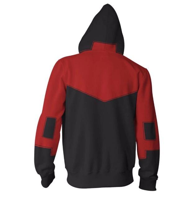 dc universe robin superhero zipper hoodie sweatshirt · ks