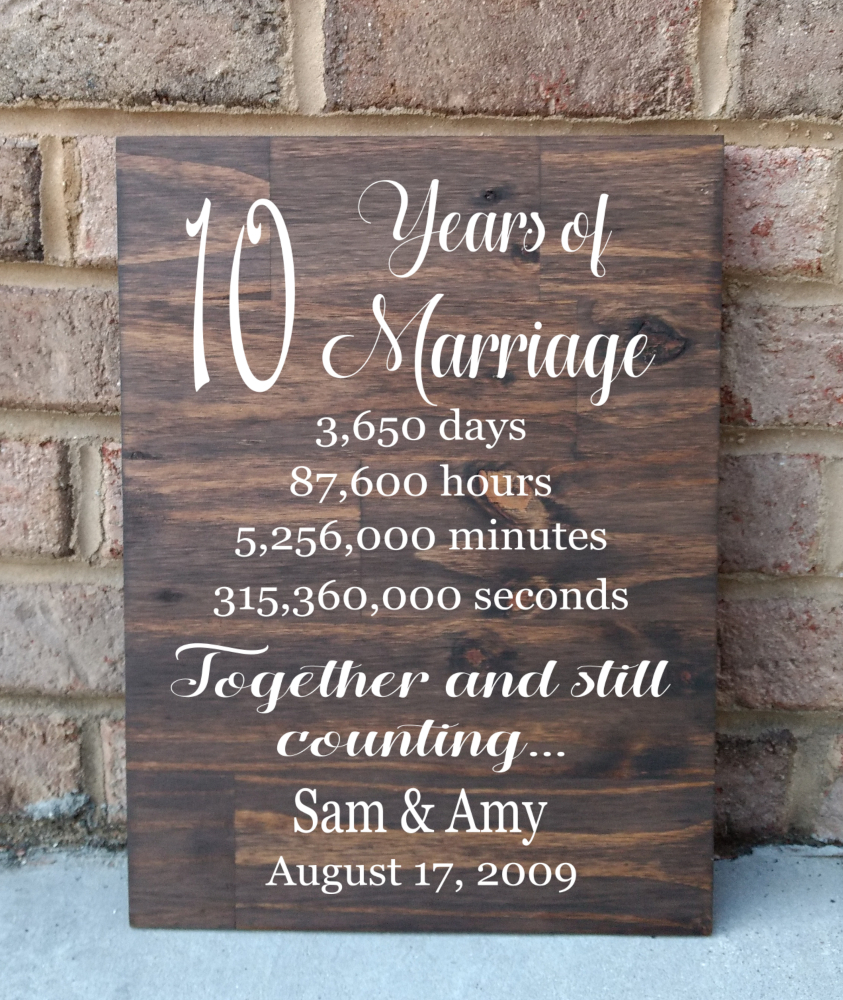 10th Anniversary Sign Hand Painted Wood Sign Anniversary Gift